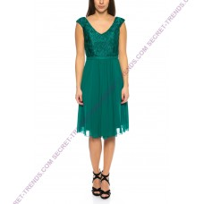 Elegant Cocktail Dress with Lace Top and Skirt in Chiffon -R1649