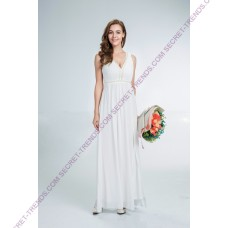 Beautiful simple maxi evening dress with ornate pearls on the chest and ruffling on the back R8418