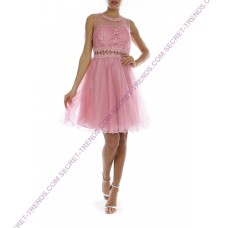 Two-piece tulle dress with floral pattern * R9145
