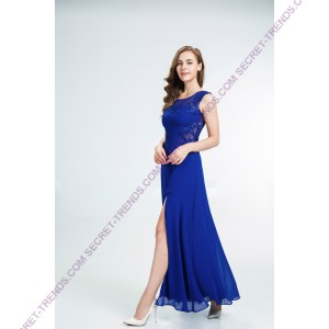 Beautiful figure-hugging evening dress made of chiffon with pearls R9158