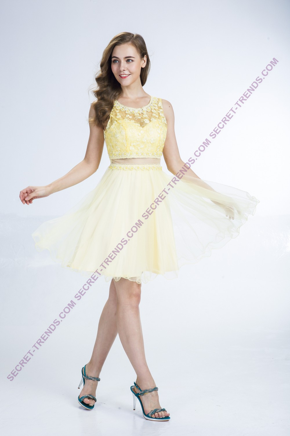 Beautiful cocktail dress made of tulle with floral lace in the two ...