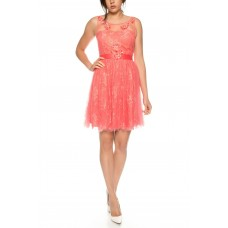 Short tulle dress / Cocktail dress of tulle with closed dekolleté * R1605