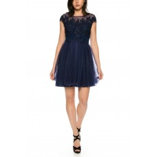 Beautiful cocktail dress from tulle with lace from lace trim * R1606