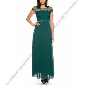 Maxi dress in light chiffon with lace cleavage R1609