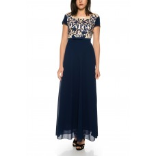 Two - color evening dress with half sleeve with floral design top * R1610