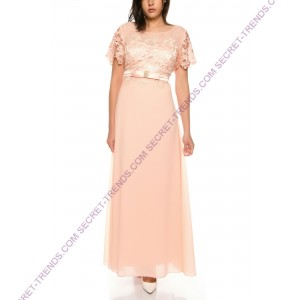 Evening dress half sleeved with lace top * R16386