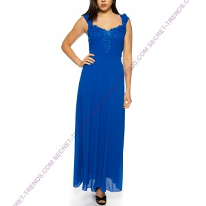 Beautiful evening dress with floral lace trim and straps * R17067