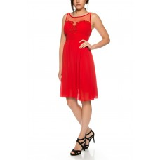 Simple cocktail dress from flowing chiffon with straps * R3597
