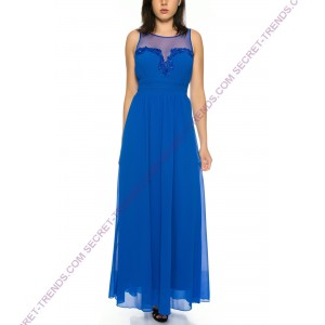 Plain evening dress made of flowing chiffon with transparent straps R3598