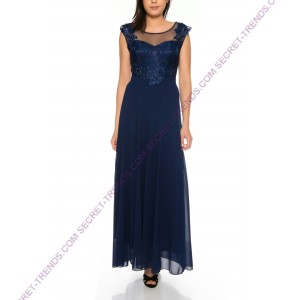 Simple evening dress from flowing skirt part and top with floral embroidery R17068