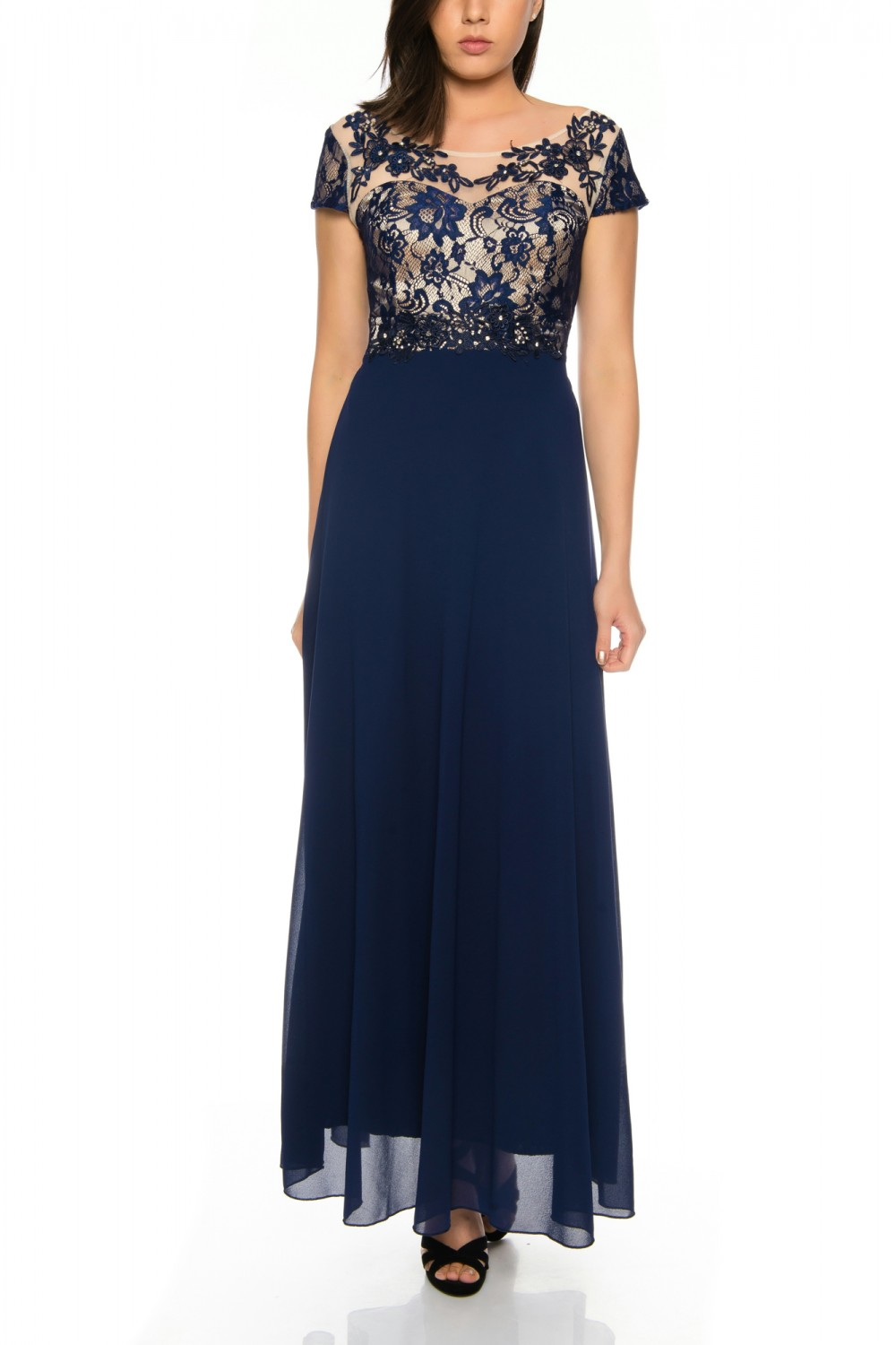 Evening dress semi-sleeved with floral embroidery and skirt in ...
