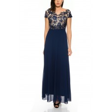 Evening dress semi-sleeved with floral embroidery and skirt in flowing chiffon R17069