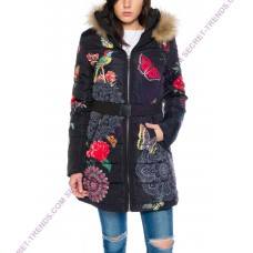 101 Idees FLORALE Women's winter jacket with real fur hood