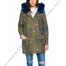 Beautiful Elegant Women's Winter Jacket with floral embroidery and blue fur collar by 101 Idees
