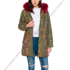 Beautiful Elegant Fine Women's Winter Jacket with floral embroidery and red fur collar by 101 Idees H3802