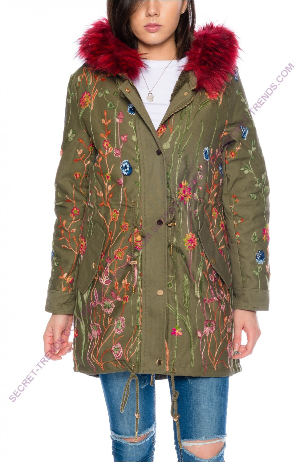 Beautiful Elegant Fine Women\'s Winter Jacket with floral embroidery ...