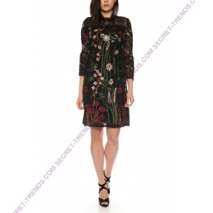 Elegant lace dress with floral embroidery and transparent sleeves by 101 Idees N1212