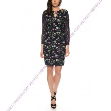 Beautiful 101 Idees lace dress with tulip embroidery and transparent long sleeves N1219