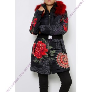 101 Idees coat / jacket with red fur F1810