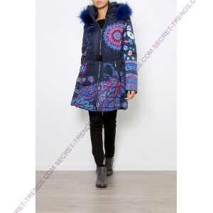 101 Idees coat / jacket with blue fur  F1808