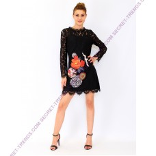 Longsleeve Lace Dress with Flower Print