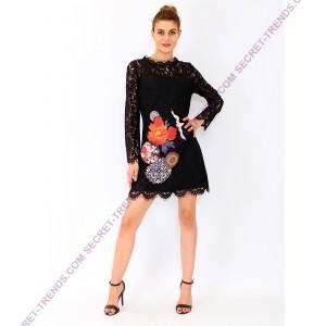 Longsleeve Lace Dress with Flower Print