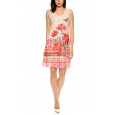 101 Idees Lace Dress with Floral Print / Floral * Rose Shade A1147