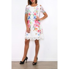 101 Idees Lace dress half sleeve with floral pattern * Chesire A1150