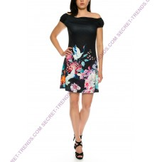 Beautiful offshoulder summer dress with floral pattern of 101 Idees A2202