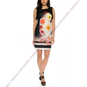 Beautiful 101 Idees summer dress with flower pattern and ruffles at the top * Shally A2325