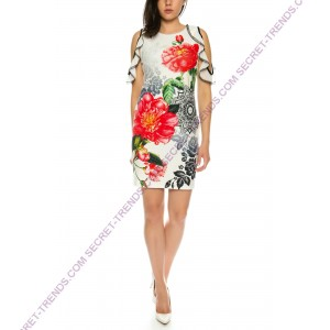101 Idees Designer summer dress with floral pattern * Flowers N 'Roses B2321
