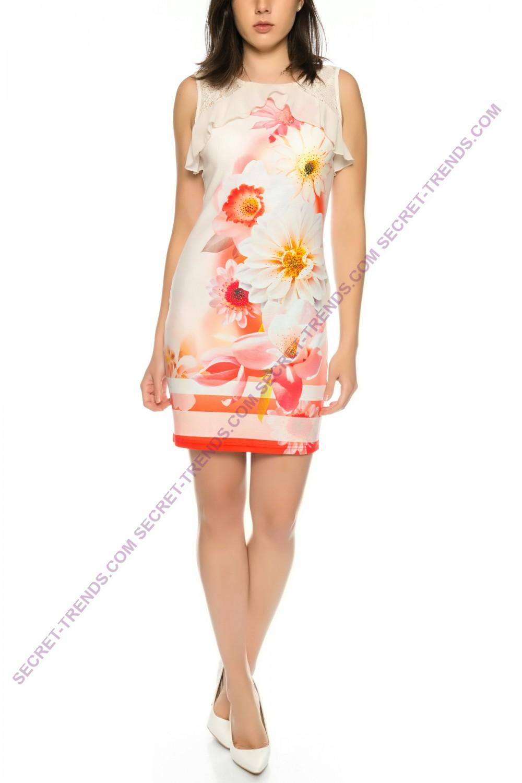 figurbetontes summer dress with floral pattern of 101. Black Bedroom Furniture Sets. Home Design Ideas