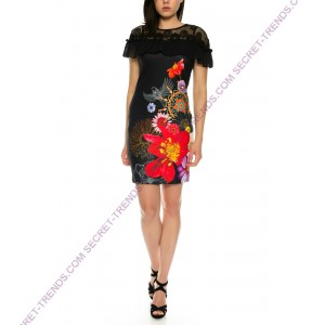 Beautiful 101 Idees dress with floral pattern and ruffles for summer B2326