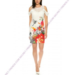 101 Idees Designer dress with floral pattern * Offshoulder B2329