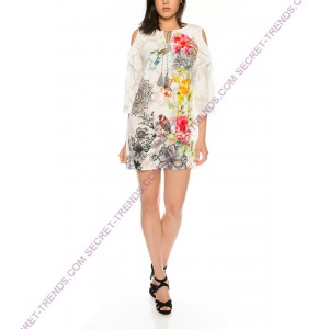 Offshoulder Dress / Tunic with floral design by 101 Idees X1211