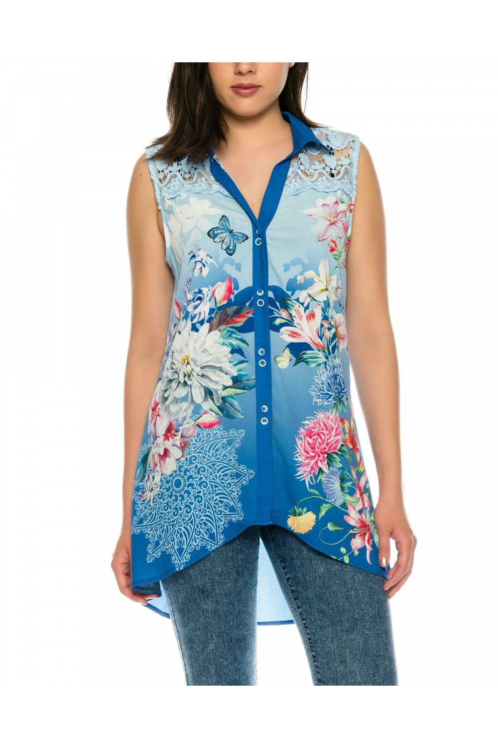 Beautiful sleeveless blouse with floral pattern and straps from fine ...
