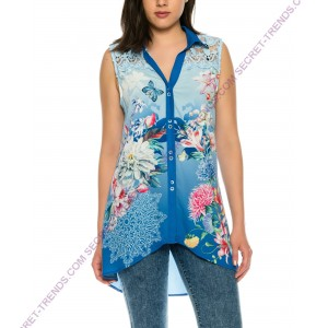 Beautiful sleeveless blouse with floral pattern and straps from fine lace of 101 Idees X3401