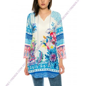 Beautiful summer blouse in chiffon with floral pattern in blue from 101 Idees X3403