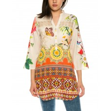 Beautiful summer blouse in chiffon with floral pattern of 101 idees X3507