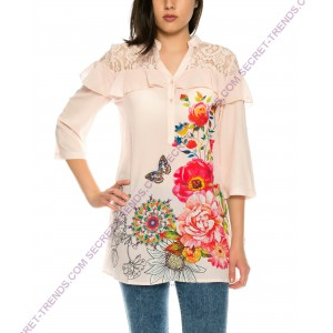 Beautiful 101 Idees Blouse in chiffon with floral pattern and ruffles at the shoulder X3508