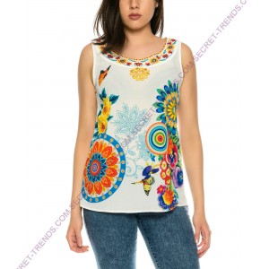 EyeCatcher Designer Top with floral pattern of 101 Idees X3514