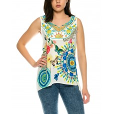 101 Idees Designer Top with Floral Pattern * Kacy X3515