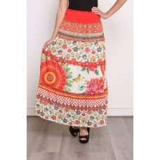 101 Idees long skirt with floral pattern * Oranje