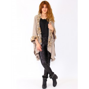 Cardigan with fur Pompoms P-1515