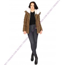 Olive Jacket With White Fur