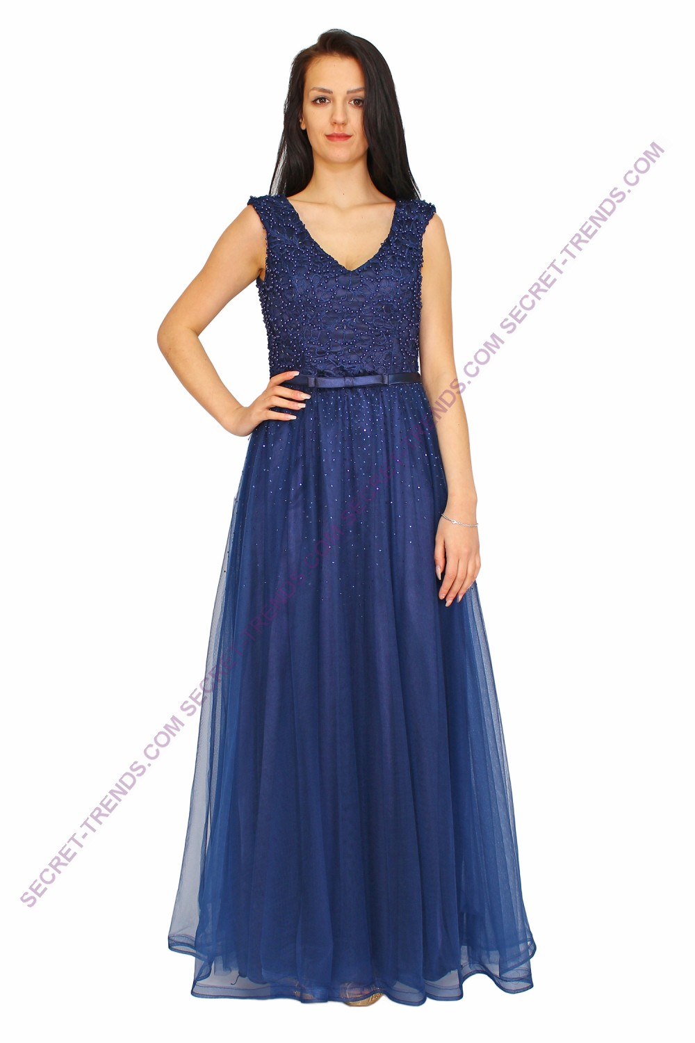 Juju & Christine evening dress with decorative trim and rhinestone ...