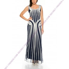 Eyecatcher contrast evening dress with single stitched lines D032
