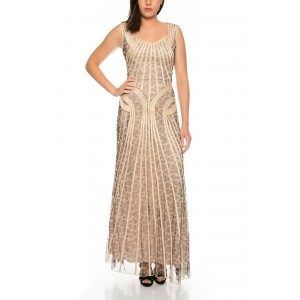 Extravagant evening dress with single stitched lines of chiffon with Leo pattern D032P