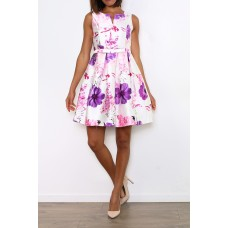 Beautiful satin summer dress * PURPLE FLOWER