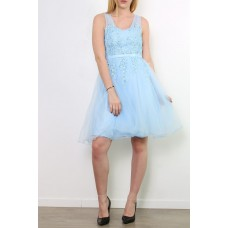 Elegant cocktail dress with floral lace and straps R9037
